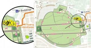 Der Ort von IBKH auf dem Geländeüberblick vom Tempelhofer Feld.
